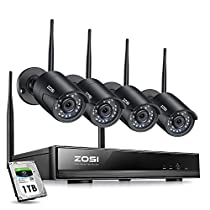 ZOSI 1080P Wireless Security Cameras System Outdoor Indoor with Night Vision, H.265+ 8CH Network Video Recorder (NVR) with 4 x 2MP Auto Match Weatherproof IP Cameras,1TB Hard Drive Built-in