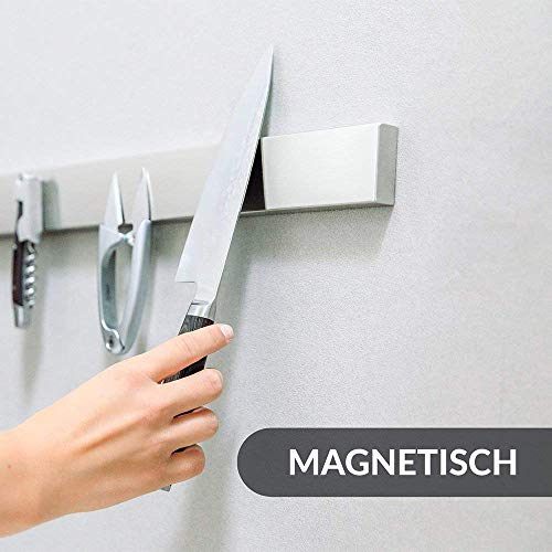 YANGMAN Wall Magnetic Knife Holder,Multi-Purpose Functionality As A Knife Holder Knife Strip Knife Rack Magnetic Tool Organizer 40 cm Stainless Steel Bar (Silver) by YANGMAN (Image #2)