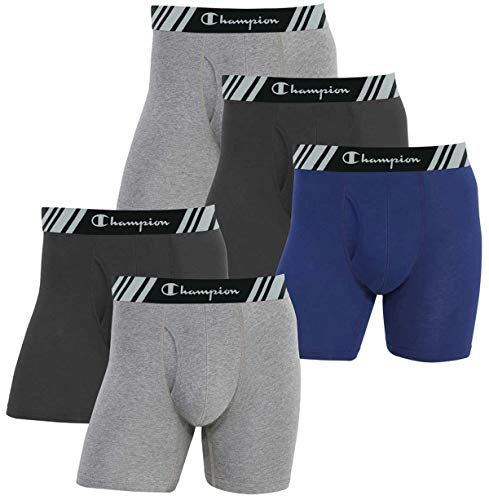 Champion Men's Boxer Briefs All Day Comfort No Ride Up Double Dry X-Temp 5 Pack (Black - Navy - Grey
