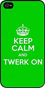 Keep Calm And Twerk On -Hard Black Plastic Snap - On Case with Soft Black Rubber Lining-Apple Iphone 4 - 4s - Great Quality!