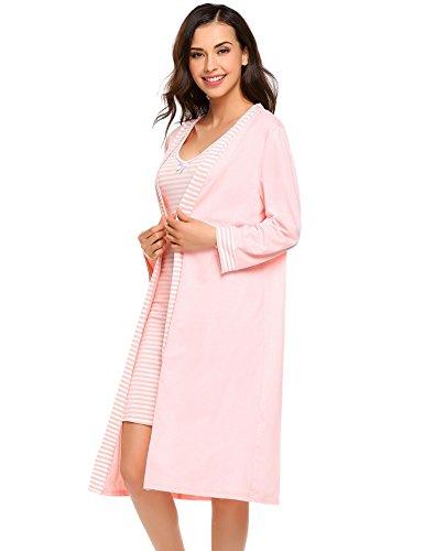 etuoji Womens Silky Solid Nightgown Dress Long Sleeve Floral Print Pajamas Set 2 Piece Sleepwear (Floral Print Knit Pajamas)