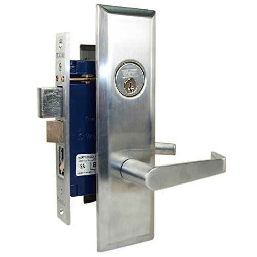 Marks Metro 116A Satin Chrome US26D Entry Right Handed Thru-Bolted Mortise Lockset with Angled Lever Escutcheon Plates
