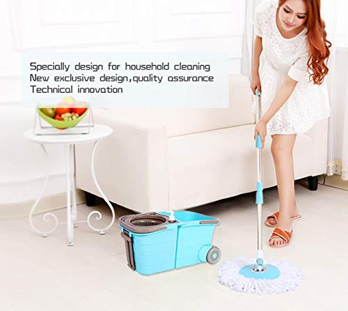Spin Mop Bucket System - Deluxe Stainless Steel 360 Spin Wringer Dry Basket & Telescopic Handle Pole, Hurricane Spinning Mop Bucket Kit, 2 Microfiber Heads Replacement by Buyplus (Image #6)