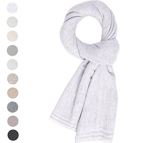 Fashion Cashmere Scarf Unisex Women's Men Soft Wool Shawl Large Stole Pashmina Silver White (White Scarf Wool)
