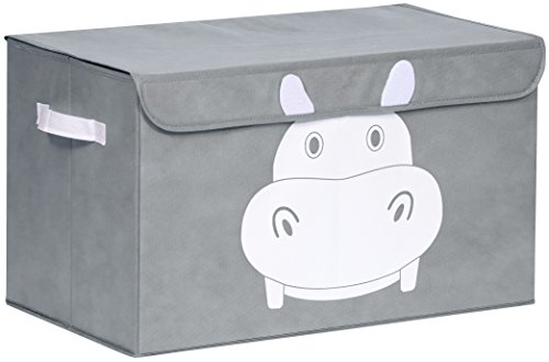 Gray storage box with cute animal design for kids, great for storing toys.