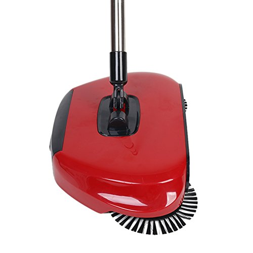 360 Degree Rotating Household Automatic Hand Push Sweeper Broom, Multi-Functional Profession Vacuum Cleaner Sweeping Robot without Electricity, 3 in 1 Dustpan and Trash Bin Floor Cleaning System (red) by YOUBEST (Image #1)
