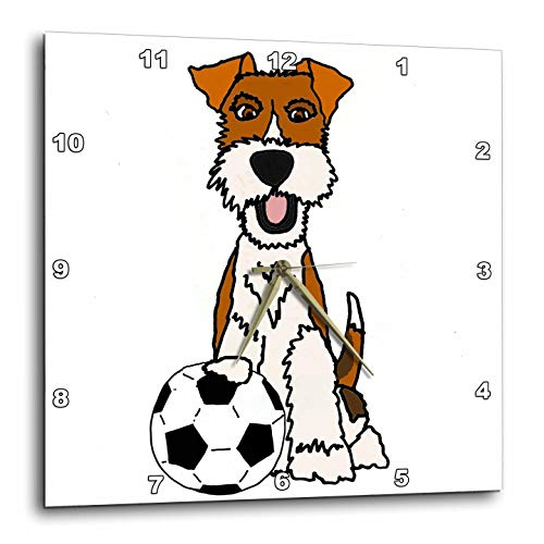 (3dRose All Smiles Art - Pets - Cool Funny Wire Fox Terrier Puppy Dog Playing Soccer Cartoon - 13x13 Wall Clock (DPP_307045_2))