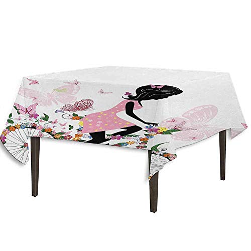 kangkaishi Bicycle Detachable Washable Tablecloth Girl in a Pink Dress Riding a Bike with Colorful Flowers and Romantic Butterflies Great for Parties Festivals etc. W70 x L70 Inch Multicolor
