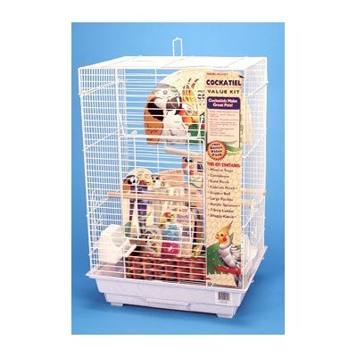 Penn Plax Cockatiel Bird Cage Starter Kit, 27 Inch Cage With Kabob Toy, Cuttlebone, Treat, and Wood (Penn Plax Swing)