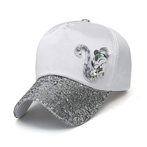 (Womens Spring and Summer Baseball Cap Glittering with Swan Logo Shiny Sequin Rhinestone Curved Visor Hats White)