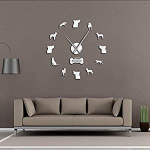 mubgo Wall Clocks White Frameless Large Wall Clock Shepherd Silent Quartz Hanging Wall Watch Bas Rouge Dog Decorative Wall Art Clock 37Inch 19