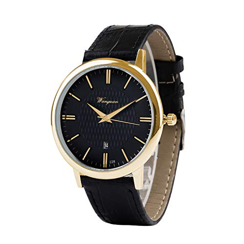 Men Watch Ultra Thin Watch Black Gold Watch Calendar Sport Watches Mens Waterproof Leather Quartz Watch ()