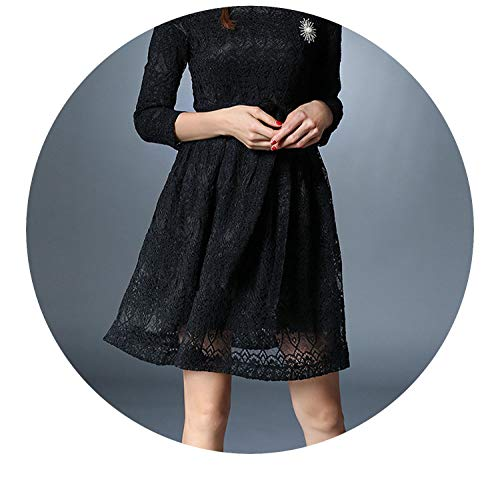 Long Sleeved Black Lace Dress Vestidos Mujer Invierno 2018 Autumn Dress Kerst Damen K9276,Black,XL