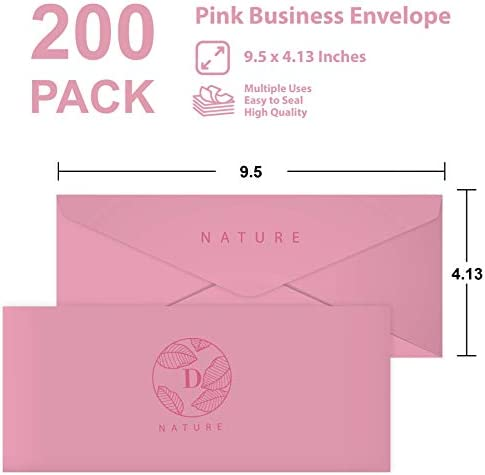 Business Envelops, 200-Pack #10 Pink Envelopes, Standard Square Flap, Gummed Seal, Perfect for Invitations, Office, Checks, Letter, Mailing, Crafts, Printable, Windowless, 4-1/8 x 9-1/2 Inches