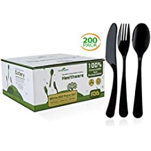 Biodegradable Compostable Forks Spoons Knives, 100% CPLA 200 Pack 7.3 Inch Black Disposable Biodegradable Cutlery Set, 8.3 Pounds Heavyweight Eco-friendly (100 Forks,50 Spoons and 50 Knives)
