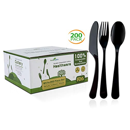 Biodegradable Compostable Forks Spoons Knives, 100% CPLA 200 Pack 7.3 Inch Black Disposable Biodegradable Cutlery Set, Heavyweight Eco-friendly (100 Forks,50 Spoons and 50 Knives)