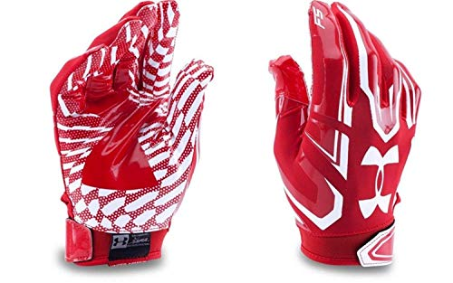 Under Armour UA F5 Grab Tack Advanced Skill Heat Gear Max Flex Football Receiver Gloves (Youth Medium) University Red/White ()