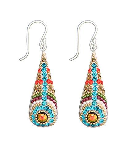 Dichroic Glass, Austrian Crystal and Silver Mosaic Drop Earrings (Mosaic Glass Dichroic)