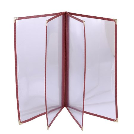 20 Non-Toxic Restaurant Menu Cover Fold 8.5X11 Burgundy Trim 4 Page 8 View Cafe by Generic (Image #4)