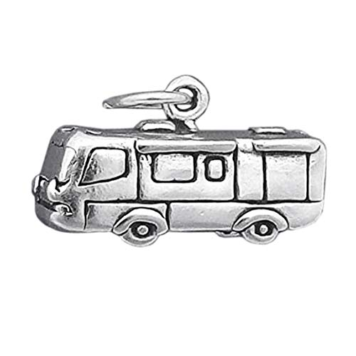 Sterling Silver 3-D RV Motorhome Travel Camper Charm Pendant - lp3682 Jewelry Making Supply Pendant Bracelet DIY Crafting by Wholesale Charms -