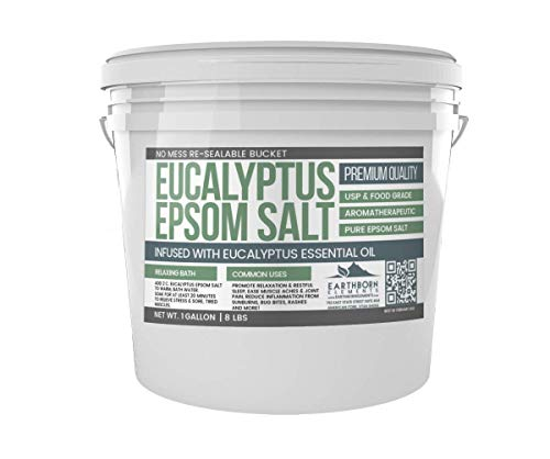 Eucalyptus Epsom Salt (1 Gallon Bucket, 8 lb) by Earthborn Elements, Infused with Eucalyptus Essential Oil, Fight Colds, Foot Soak, Natural Decongestant, Aromatherapy