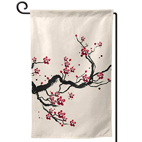 - Private Bath Customiz Plum Tree Blossom Ink Painting Chinese Paint Garden Flag Waterproof Double Sided Yard Outdoor Decorative 12.5 X 18 Inch Welcome Flags