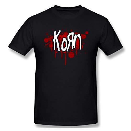 - JiaoZhiduanxiu Men's Korn Logo Classic Black T Shirt 6XL