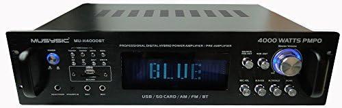Professional 4000 Watts Hybrid Power Amplifier/Pre-Amplifier/Receiver Bluetooth AM/FM Tuner USB/SD Slot MP3 / iPod Input MU-H4000BT