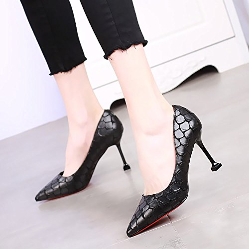KHSKX-8Cm Pointed High-Heeled Shoes With A Fine Shallow Mouth Cat With Shoes The Korean Version Of The New Sexy Snake Black Shoes All-Match Thirty-eight 9jwSyF