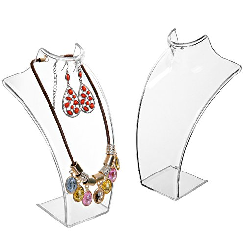 (MyGift 8-Inch Clear Acrylic Necklace & Earring Jewelry 3D Bust Display Stand, Set of 2)