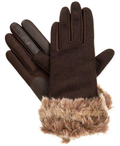 Isotoner Signature Faux-Fur Cuff Spandex SmarTouch Tech Gloves in Brown (Small / Medium)