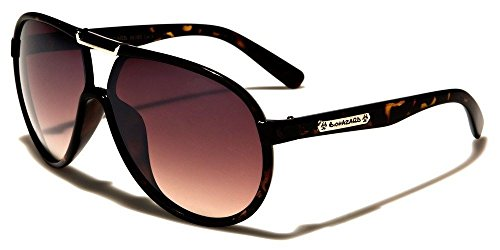 Tortoise Amber Biohazard Lightweight Metal Strips Bridge Aviator Sunglasses For Men And Women