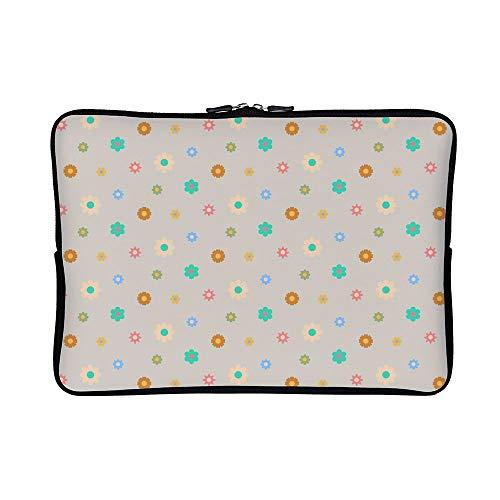 DKISEE Abstract Floral Pastel Pattern Neoprene Laptop Sleeve Case Waterproof Sleeve Case Cover Bag for MacBook/Notebook/Ultrabook/Chromebooks
