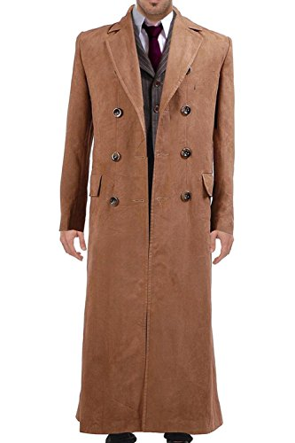 Wolfbar Men's 10th Dr Long Suede Trench Coat Halloween Costume Brown Male M]()