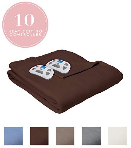 Serta | Brushed Fleece Heated Electric Throw Blanket,