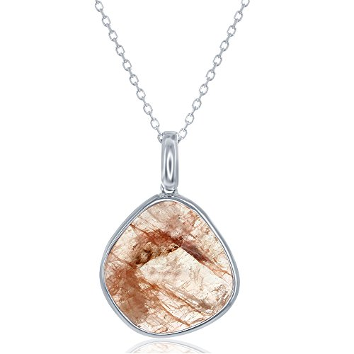 Strawberry Quartz Pendant - Sterling Silver Faceted Strawberry Quartz Pendant with 18