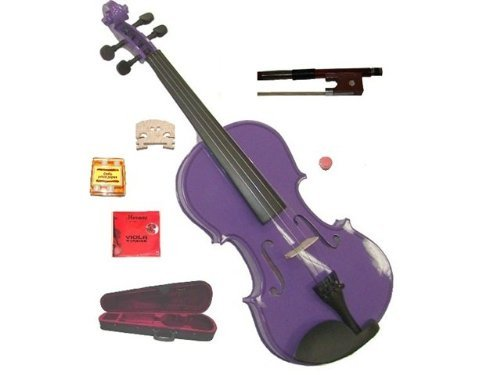GRACE 14 inch Purple Student Viola with Case, Bow+2 Sets Strings+2 Bridges+Pitch Pipe+Rosin by Grace