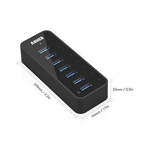 Anker USB 3.0 7-Port Hub with 1 BC 1.2 Charging Port up to ...
