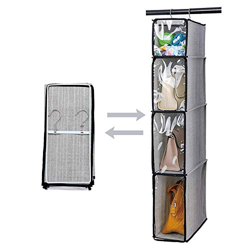 Kntiwiwo Hanging Handbag Organizer Purse Storage Breathable Soft Foldable with Clear Dust Proof Cover Hanging Cabinet Shelves for College Student Dormitary Living Room 1Pcs,Grey (Purse Storage Organizer)