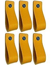 Brute Strength - Leren Handgrepen - Okergeel - 6 stuks - 16,5 x 2,5 cm - incl. 3 kleuren schroeven per leren handvat voor keukenkastjes - badkamer – kasten