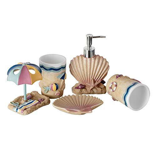 - JYXR 5 Piece Bathroom Accessories Set, 3D Beach Style Bath Ensemble, Resin Bath Set Collection Features Liquid Soap Dispenser, Toothbrush Holder, Tumbler, Soap Dish