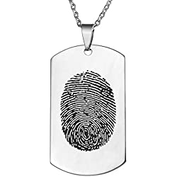 Valyria Personalized Custom Fingerprint Memorial Jewelry Dog Tag Pendant Necklace,Silver Tone