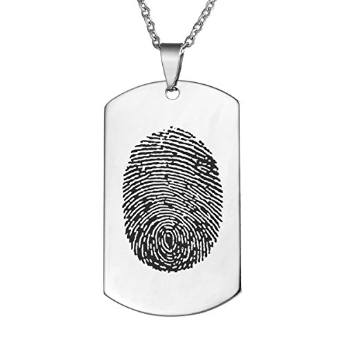 (Valyria Personalized Custom Fingerprint Memorial Jewelry Dog Tag Pendant Necklace,Silver Tone)