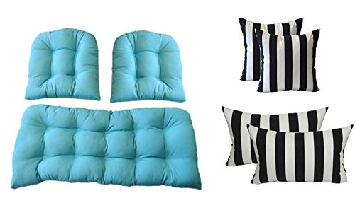 3 Pc Wicker Cushion Set - Solid Cancun Blue Cushions + 4 FREE Black & White Stripe Pillows - Indoor / Outdoor Fabric by Resort Spa Home