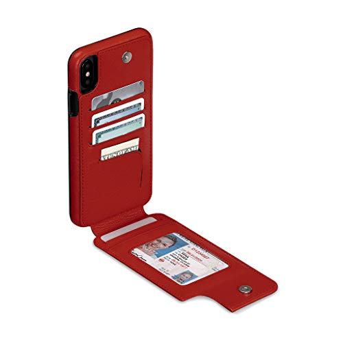 Cell For Phones Skins - Wallet Skin Leather Cell Phone Case for iPhone XS Max - Wireless Charging Compatible - Red