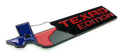 TAKOsport TEXAS EDITION EMBLEM BADGE (universal) Black and Red Finish Fits Dodge, Chevy, Ford Trucks (BLACK)