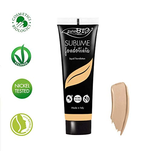 PuroBIO Certified Organic SUBLIME Revolutionary Long-Lasting, Liquid Foundation with Anti-Aging and Mattifying properties, Color 02 Light/Medium. Contains Antioxidants, Vitamins, Plant Oils. ORGANIC. VEGAN. NICKEL TESTED. MADE IN ITALY ... ()
