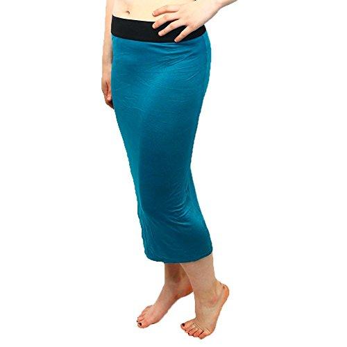 Bodycon elástica falda con pretina elasticated cabida Teal