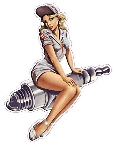Nostalgia Decals Spark Plug Pin Up Girl Decal is 5