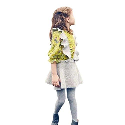 Knit Ruffle Dress (FEITONG Toddler Little Girls Autumn Knit Sweater Solid Sleeveless Ruffle Dress Clothes (2Years, Gray))